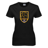Ladies Black T Shirt-Soccer Shield