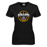 Ladies Black T Shirt-Rollins Basketball Arched w/ Ball