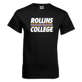 Black T Shirt-Rollins College Stacked w/ Stripes