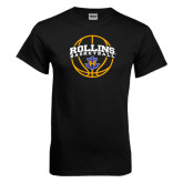Black T Shirt-Rollins Basketball Arched w/ Ball