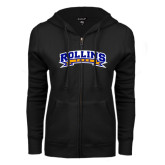 ENZA Ladies Black Fleece Full Zip Hoodie-Arched Rollins Tars