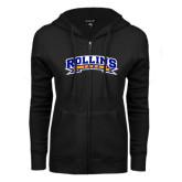ENZA Ladies Black Fleece Full Zip Hoodie-Arched Rollins Tars