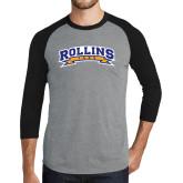Grey/Black Tri Blend Baseball Raglan-Arched Rollins Tars