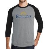 Grey/Black Tri Blend Baseball Raglan-Rollins Institutional Mark Stacked