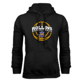 Black Fleece Hoodie-Rollins Basketball Arched w/ Ball