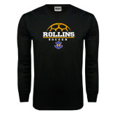 Black Long Sleeve TShirt-Rollins Soccer Stacked