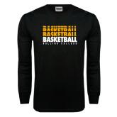 Black Long Sleeve TShirt-Basketball Repeating