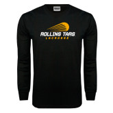 Black Long Sleeve TShirt-Rollins Tars Lacrosse Stacked