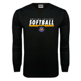 Black Long Sleeve TShirt-Rollins College Softball Underline