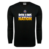 Black Long Sleeve TShirt-Rollins Nation Stacked