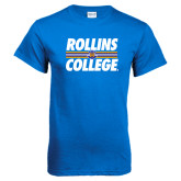 Royal Blue T Shirt-Rollins College Stacked w/ Stripes