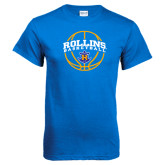 Royal Blue T Shirt-Rollins Basketball Arched w/ Ball