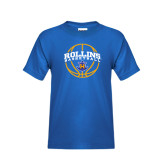 Youth Royal T Shirt-Rollins Basketball Arched w/ Ball