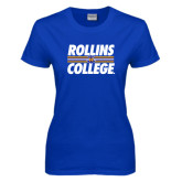 Ladies Royal T Shirt-Rollins College Stacked w/ Stripes