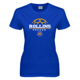 Ladies Royal T Shirt-Rollins Soccer Stacked