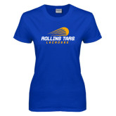 Ladies Royal T Shirt-Rollins Tars Lacrosse Stacked