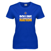 Ladies Royal T Shirt-Rollins Nation Stacked