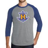Grey/Royal Heather Tri Blend Baseball Raglan-Official Logo