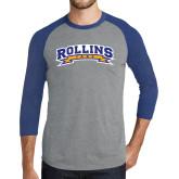 Grey/Royal Heather Tri Blend Baseball Raglan-Arched Rollins Tars