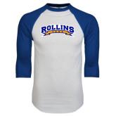 White/Royal Raglan Baseball T Shirt-Arched Rollins Tars