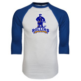 White/Royal Raglan Baseball T Shirt-Arched Rollins Tars With Standing Tar