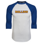 White/Royal Raglan Baseball T Shirt-Rollins