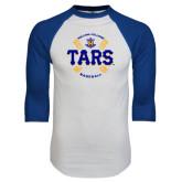White/Royal Raglan Baseball T Shirt-Tars Baseball w/ Seams