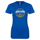 Next Level Ladies SoftStyle Junior Fitted Royal Tee-Rollins Basketball Arched w/ Ball