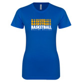Next Level Ladies SoftStyle Junior Fitted Royal Tee-Basketball Repeating