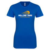 Next Level Ladies SoftStyle Junior Fitted Royal Tee-Rollins Tars Lacrosse Stacked