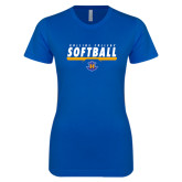 Next Level Ladies SoftStyle Junior Fitted Royal Tee-Rollins College Softball Underline