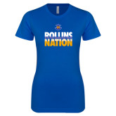 Next Level Ladies SoftStyle Junior Fitted Royal Tee-Rollins Nation Stacked