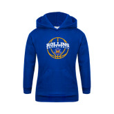 Youth Royal Fleece Hoodie-Rollins Basketball Arched w/ Ball