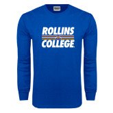 Royal Long Sleeve T Shirt-Rollins College Stacked w/ Stripes