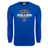 Royal Long Sleeve T Shirt-Rollins Soccer Stacked