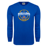 Royal Long Sleeve T Shirt-Rollins Basketball Arched w/ Ball