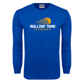 Royal Long Sleeve T Shirt-Rollins Tars Lacrosse Stacked
