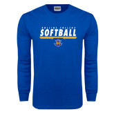 Royal Long Sleeve T Shirt-Rollins College Softball Underline