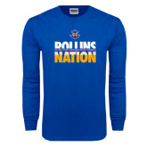 Royal Long Sleeve T Shirt-Rollins Nation Stacked