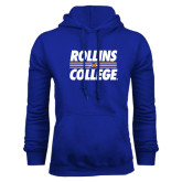 Royal Fleece Hoodie-Rollins College Stacked w/ Stripes