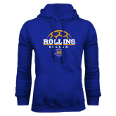 Royal Fleece Hood-Rollins Soccer Stacked