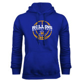 Royal Fleece Hoodie-Rollins Basketball Arched w/ Ball