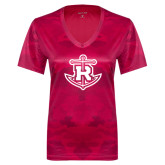 Ladies Pink Raspberry Camohex Performance Tee-Official Logo