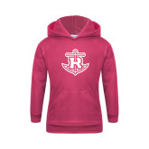 Youth Raspberry Fleece Hood-Official Logo