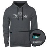 Contemporary Sofspun Charcoal Heather Hoodie-Rollins Institutional Mark Stacked