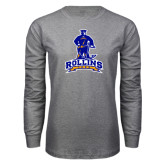 Grey Long Sleeve T Shirt-Arched Rollins Tars With Standing Tar