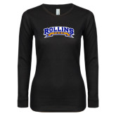 Ladies Black Long Sleeve V Neck T Shirt-Arched Rollins Tars