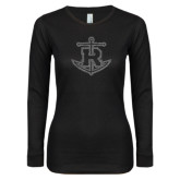 Ladies Black Long Sleeve V Neck T Shirt-Official Logo Graphite Glitter