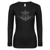 Ladies Black Long Sleeve V Neck Tee-Official Logo Graphite Glitter
