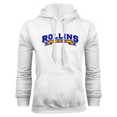 White Fleece Hood-Arched Rollins Tars